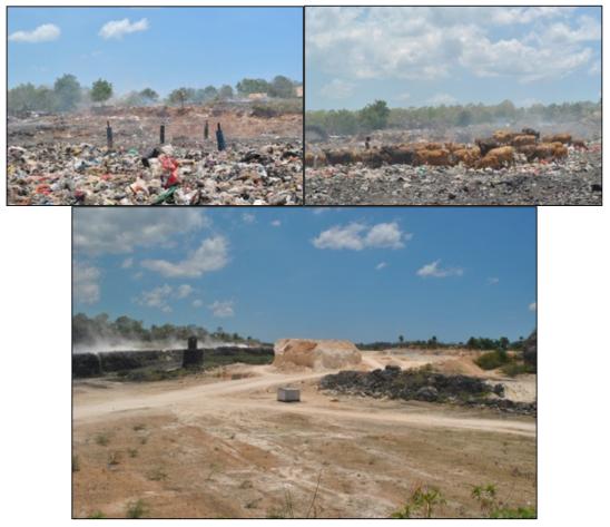 Kiri atas: Keadaan lokasi TPA Sampah Alak - Kota Kupang Kanan atas: tampak ternak sapi milik warga yang berkeliaraan bebas di lokasi TPA Alak Bawah: Quarry penambangan batugamping yang berjarak hanya 10 meter dari lokasi TPA Alak